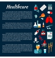 Healthcare banner design with flat medical icons vector image