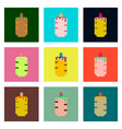 set pixel icons of french hot dog vector image