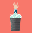 Businessman under a lot of documents in the trash vector image