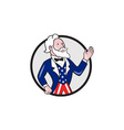 Uncle Sam American Waving Hand Circle Cartoon vector image