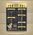 flat cocktail menu design document template vector image
