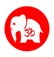 The elephant and om symbol design vector image