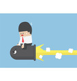 Businessman riding a black bullet vector image