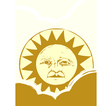 Sun Face and Clouds A vector image