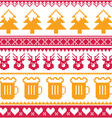 Christmas seamless pattern with beer reindeer vector image