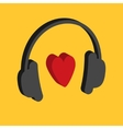 Black headphones icon 3D heat sign Isometric vector image
