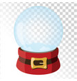 christmas glass magic ball with santa hat vector image