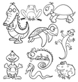 Coloring book with reptiles and amphibians vector image
