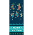 Merry Christmas banner with socks in knitted style vector image