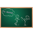 A blackboard with a drawing of two people ice vector image vector image
