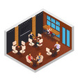 cafe restaurant isometric interior vector image