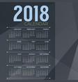 2018 blue grey color tone printable calendar vector image