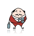 Businessman with suitcase sketch for your design vector image