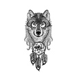 Dotwork tattoo design stylized Wolf face with vector image