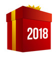 big red present box with numbers 2018 vector image