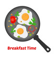 breakfast - fried eggs vegetables on pan vector image