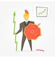Businessman spartan with chart vector image