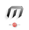 Letter M metal font Elegant Template for company vector image