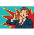 Pop art man eating a Burger vector image