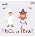Trick or treat Halloween card with two kids vector image