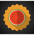Water Melon Fruit Flat Icon with long shadow vector image