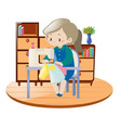 woman sewing clothes with machine in room vector image
