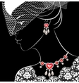 Woman with necklace and earrings vector image