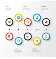 multimedia flat icons set collection of male vector image