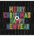 Christmas letterpress concept colorful vector image