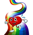 A heart walking above the rainbow vector image