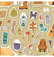 Camping stickers seamless pattern vector image