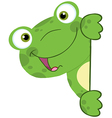 Cute Frog Smiling Behind Blank Sign vector image