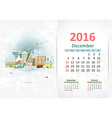 Cute sweet town calendar for 2016 December vector image