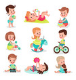 happy little boys and girls playing with toys set vector image