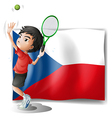 The flag of Czech Republic and the tennis player vector image