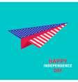 Paper plane with stars and strips independence day vector image