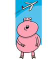 piglet looking at plane cartoon vector image vector image