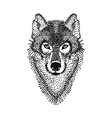 Dotwork tattoo design stylized Wolf face Hand vector image vector image