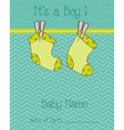 baby boy arrival card with socks vector image