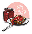 jam with bread vector image