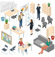 set of isometric business people vector image