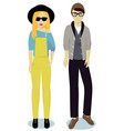 teenagers boy and girl in hipster style vector image