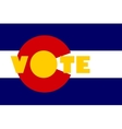 vote text on colorado state flag backdrop vector image