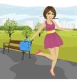 Young woman with handbag having fun vector image