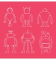 Cute line robot set on pink vector image