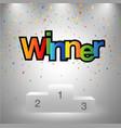 winner sign poduim sport game vector image