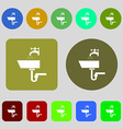 Washbasin icon sign 12 colored buttons Flat design vector image