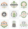 Set of St Patricks Day Retro Holiday Badges vector image