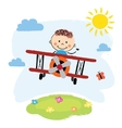 Boy flying over a field vector image