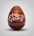 chocolate easter egg with ornament vector image